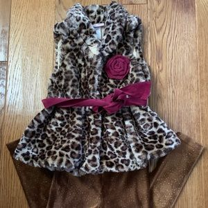 Leopard vest and sparkly brown pant set